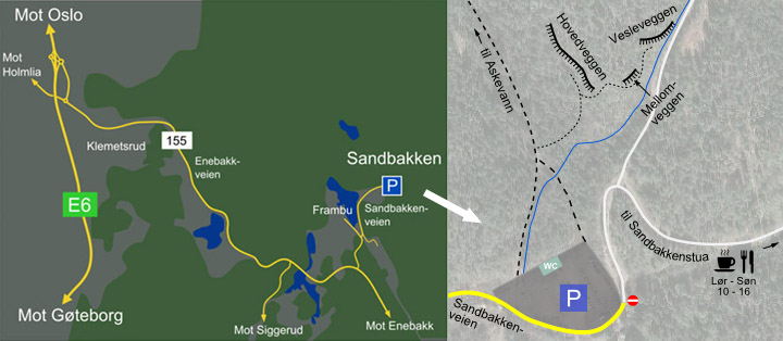 Sandbakken kart for klatreområder.